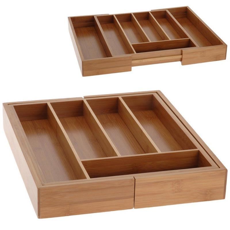 Organizer bambusowy do szuflady na sztućce wkład rozsuwany 29-41 cm
