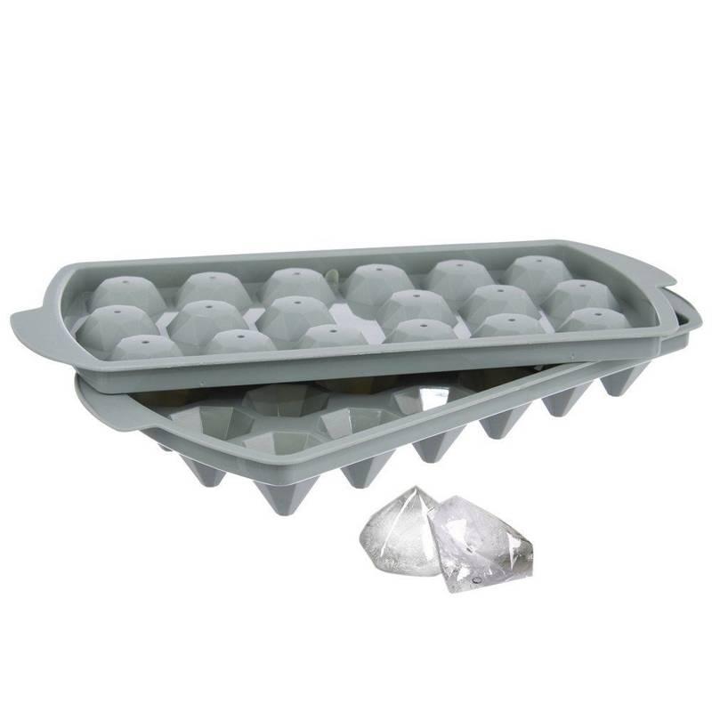 Forma na lód w kształcie diamentów z pokrywką foremka do diamentowych kostek lodu pojemnik 18 sztuk