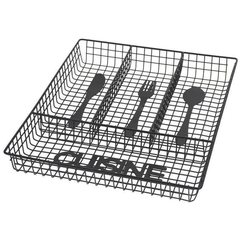 Organizer koszyk wkład do szuflady pojemnik na sztućce przybory metalowy czarny