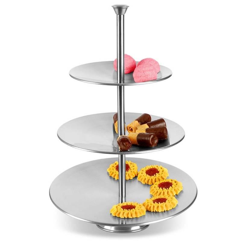 Patera stalowa srebrna 3-poziomowa piętrowa na ciastka ciasto owoce babeczki