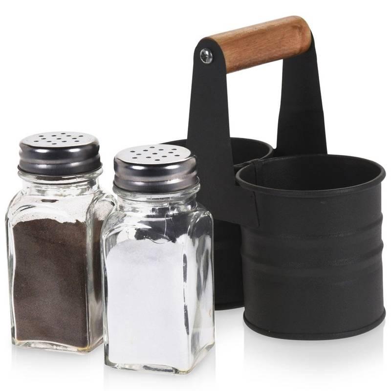 Solniczka i pieprzniczka przyprawnik w stojaku